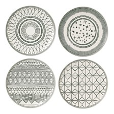 "ED Ellen DeGeneres Crafted by Royal Doulton Charcoal Grey 8"" Plates, Set of 4"