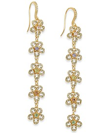 I.N.C. Gold-Tone Crystal Flower Linear Drop Earrings, Created for Macy's