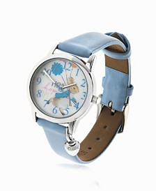 Beatrix Potter Children's Peter Rabbit Silver Steel Case and Light Blue Leather Watch 28mm