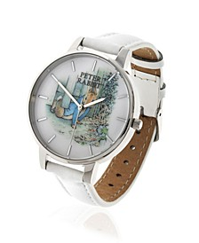 Ladies Peter Rabbit Silver Steel Case and White Leather Watch