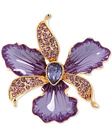 Anne Klein Gold-Tone Colored Crystal Orchid Pin
