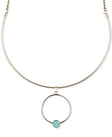 "DKNY Gold-Tone Stone & Circle Pendant Necklace, Created for Macy's , 16"" + 3"" extender"