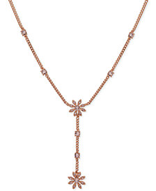 """Givenchy Crystal Flower Lariat Necklace, 16"""" + 3"""" extender"""