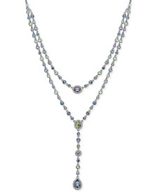 """Givenchy Silver-Tone Multi-Crystal Double-Row Lariat Necklace, 16"""" + 3"""" extender"""
