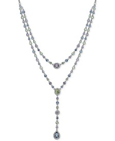 "Givenchy Silver-Tone Multi-Crystal Double-Row Lariat Necklace, 16"" + 3"" extender"