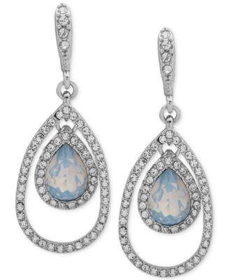 Crystal & Stone Orbital Large Drop Earrings