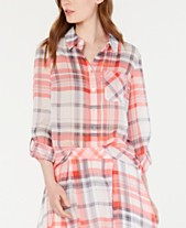 516cf083 Tommy Hilfiger Plaid Roll-Tab Sleeve Top, Created for Macy's