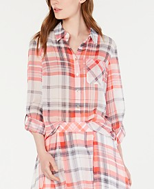 Tommy Hilfiger Plaid Roll-Tab Sleeve Top, Created for Macy's