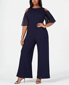 Connected Plus Size Cold-Shoulder Jumpsuit