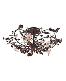 Cristallo Fiore Collection 3-Light Flush Mount in Deep Rust with Crystal Florets