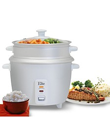 Elite Gourmet 6 Cup Rice Cooker with Steam Tray