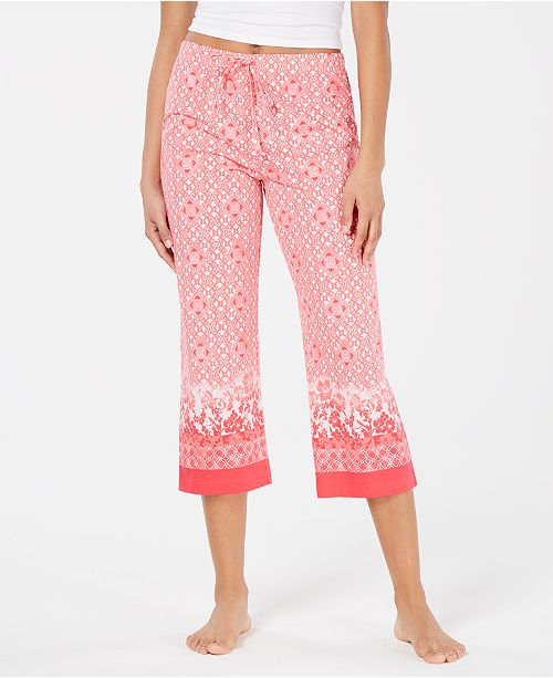 bd54dfdc8060 ... Charter Club Printed Soft Knit Cotton Cropped Pajama Pants, Created for  Macy's ...