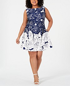 Plus Size Floral Contrast Fit & Flare Dress
