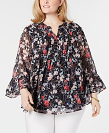Charter Club Plus Size Printed Pintuck Bell-Sleeve Top, Created for Macy's