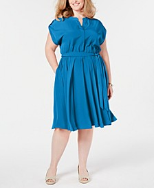 Plus Size Cap-Sleeve Shirtdress, Created for Macy's
