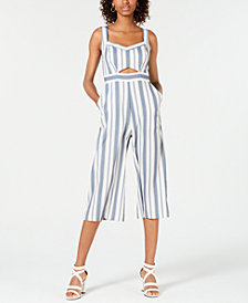 Teeze Me Juniors' Striped Cutout Jumpsuit