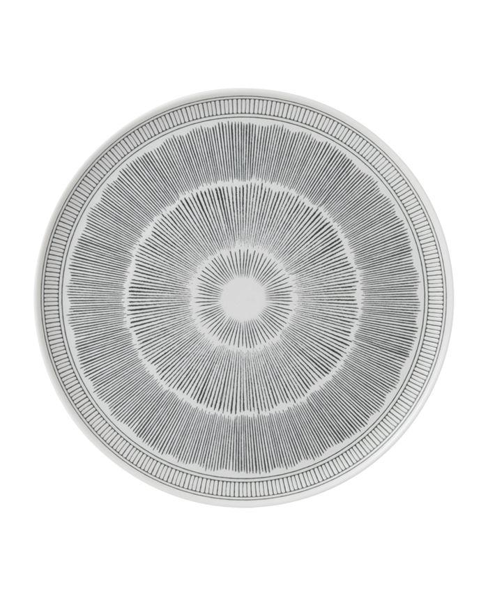 "ED Ellen Degeneres - Charcoal Grey Lines Serving Platter 12.5"""