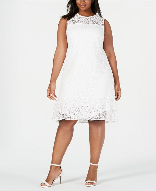 Jessica Howard Plus Size Lace Flounce Shift Dress