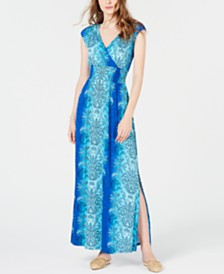 I.N.C. Medallion-Print Smocked-Waist Maxi Dress, Created for Macy's