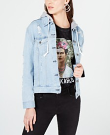 Kendall + Kylie Abbot Hooded Denim Jacket