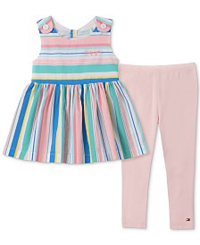 Tommy Hilfiger Little Girls 2-Pc. Rainbow-Stripe Tunic & Leggings Set