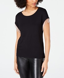 I.N.C. Beaded-Fringe T-Shirt, Created for Macy's