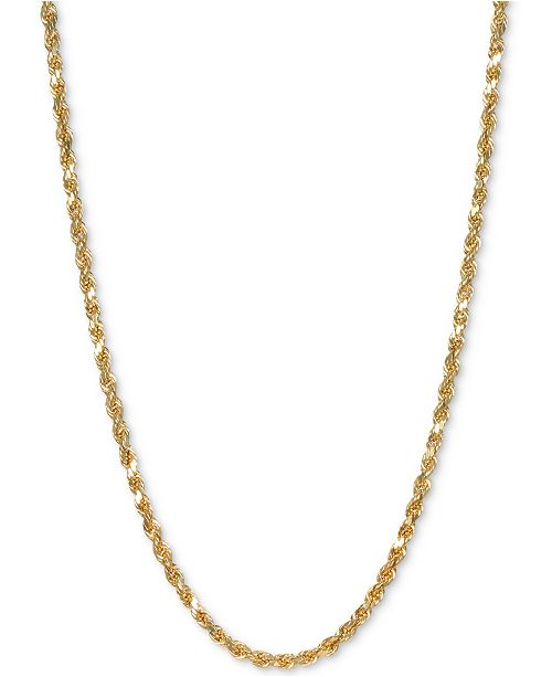 """Italian Gold Rope 24"""" Chain Necklace in 14k Gold"""