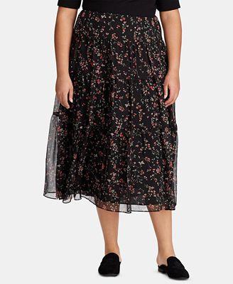 Lauren Ralph Lauren Plus Size Tiered Peasant Skirt