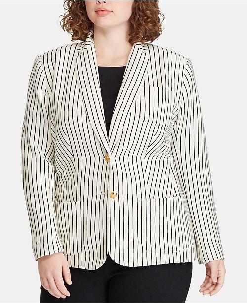 5b4f7d344a2 Lauren Ralph Lauren Plus Size Piqué Blazer - Jackets   Blazers ...