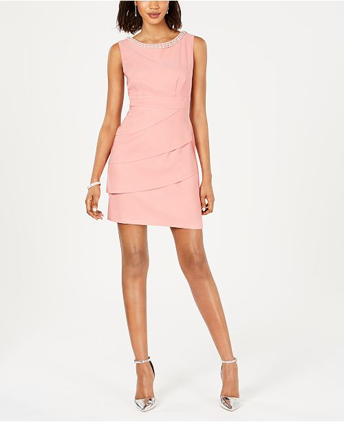 Connected Petite Embellished Tiered Dress