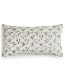 "Home Design Studio Mosaic Embroidered 14"" x 26"" Decorative Pillow, Created for Macy's"