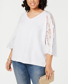 I.N.C. Plus Size Lace-Sleeve Sweater, Created for Macy's