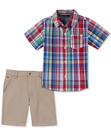 Tommy Hilfiger Baby Boys 2-Pc. Plaid-Print Cotton Shirt & Shorts Set