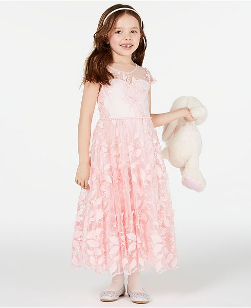 ecac80764ca6 Rare Editions Little Girls Floral Embroidered Maxi Dress & Reviews ...