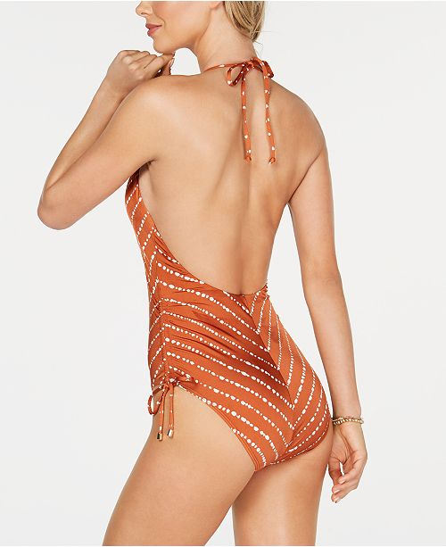 88c99ad1f8056 Bar III Dotted Stripe Plunging One-Piece Swimsuit, Created for Macy's ...