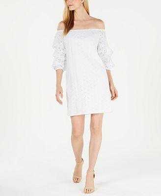 Petite Off-The-Shoulder Eyelet Dress