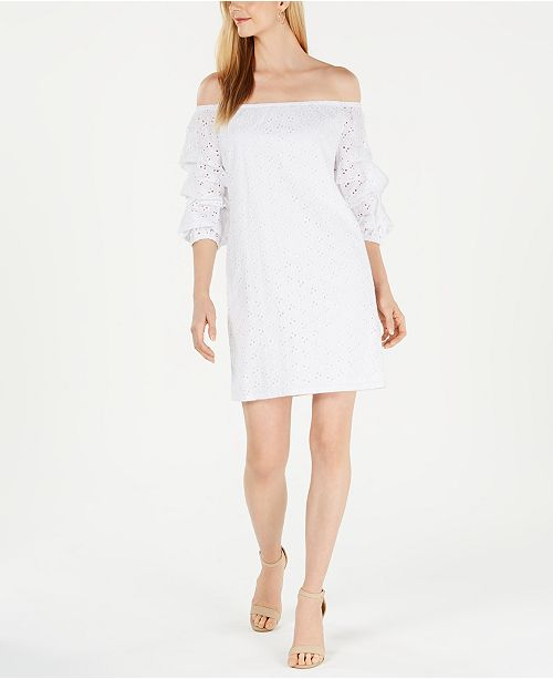 Petite Off-The-Shoulder Eyelet Dress