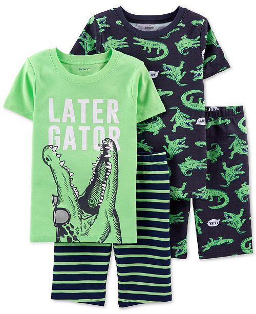 Carter's Little & Big Boys 4-Pc. Cotton Alligator Pajamas Set