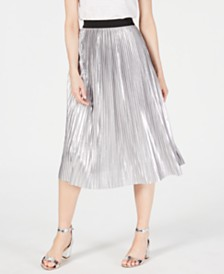 I.N.C. Pull-On Metallic Pleated Midi Skirt, Created for Macy's