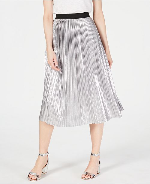 INC International Concepts I.N.C. Pull-On Metallic Pleated Midi Skirt, Created for Macy's