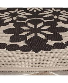 "Safavieh Courtyard Beige and Black 6'7"" x 6'7"" Sisal Weave Round Area Rug"