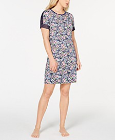 Flower-Print Lace Trim Nightgown