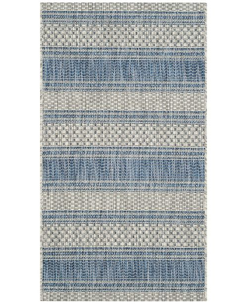 "Safavieh Courtyard Gray and Navy 2' x 3'7"" Area Rug"