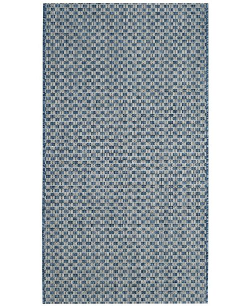 "Safavieh Courtyard Blue and Light Gray 2'7"" x 5' Sisal Weave Area Rug"