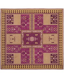 Classic Vintage Fuchsia and Gold 6' x 6' Square Area Rug