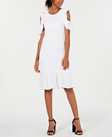 XOXO Cold-Shoulder Ruffle-Hem Dress