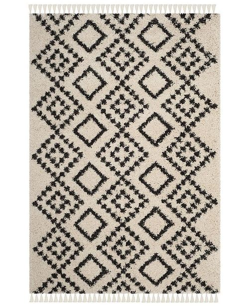 "Safavieh Moroccan Fringe Shag Cream and Charcoal 5'1"" X 7'6"" Area Rug"