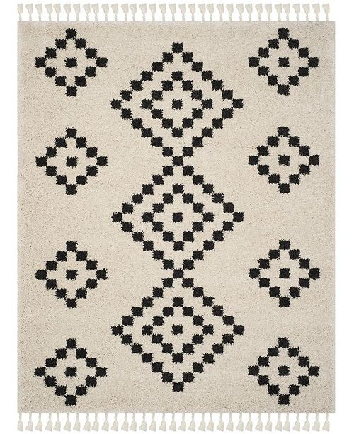 Safavieh Moroccan Fringe Shag Cream and Charcoal 8' X 10' Area Rug