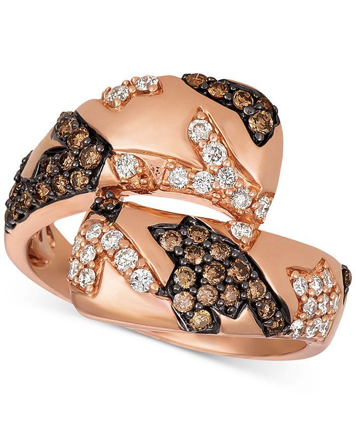 Le Vian - Chocolate Diamond (3/8 ct. t.w.) & Vanilla Diamond (1/3 ct. t.w.) Bypass Ring in 14k Rose Gold