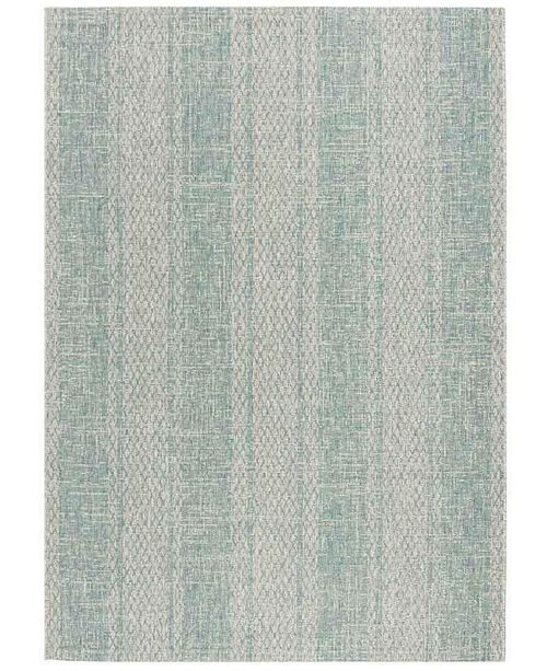 Safavieh Courtyard Light Gray and Aqua 8' x 11' Sisal Weave Area Rug